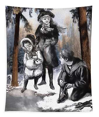 Winter Fun In The Woods Tapestry
