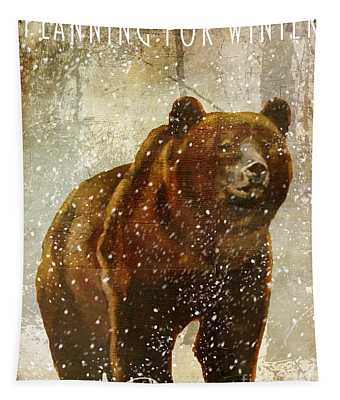 Winter Game Bear Tapestry