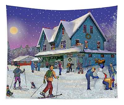 Winter In Campton Village Tapestry