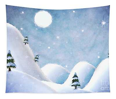 Winter Landscape Under Full Moon Tapestry