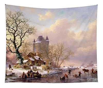 Winter Landscape With Castle Tapestry
