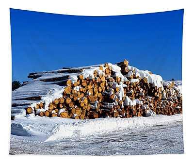 Winter Logs Tapestry