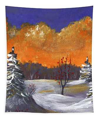 Tapestry featuring the painting Winter Nightfall #1 by Anastasiya Malakhova
