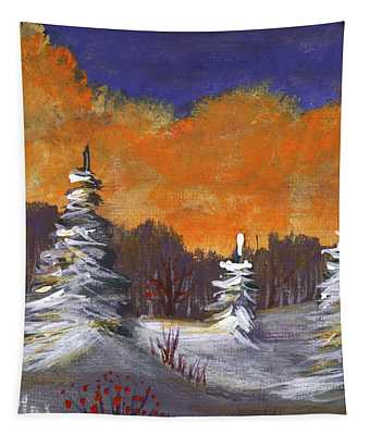 Tapestry featuring the painting Winter Nightfall #2 by Anastasiya Malakhova