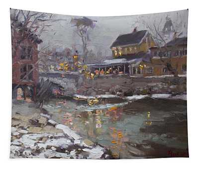 Winter Nocturne In Williamsville Tapestry