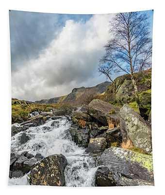 Winter Rapids Of Snowdonia Tapestry