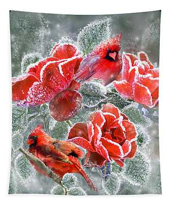 Winter Roses And Cardinals Tapestry