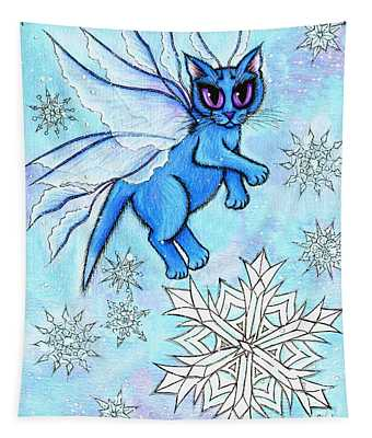 Winter Snowflake Fairy Cat Tapestry