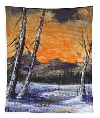 Tapestry featuring the painting Winter Solitude #1 by Anastasiya Malakhova