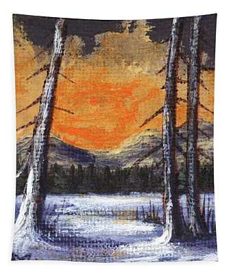 Tapestry featuring the painting Winter Solitude #2 by Anastasiya Malakhova