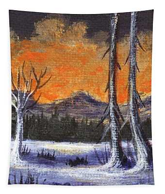 Tapestry featuring the painting Winter Solitude #3 by Anastasiya Malakhova