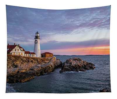 Winter Sunrise Over Portland Head Light Tapestry