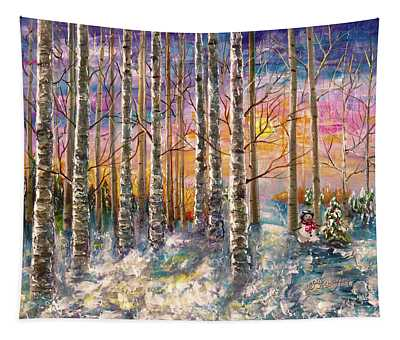 Dylan's Snowman - Winter Sunset Landscape Impressionistic Painting With Palette Knife Tapestry