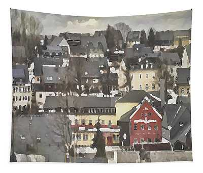 Tapestry featuring the digital art Winter Village With Red House by Shelli Fitzpatrick