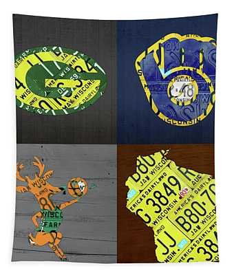 Wisconsin Sports Team License Plate Art Milwaukee Green Bay Plus Map Brewers Bucks Packers Tapestry