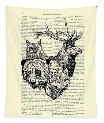 Wolf, Bear, Deer, Owl Wildlife Animals Black And White Tapestry