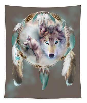 Tapestry featuring the mixed media Wolf - Dreams Of Peace by Carol Cavalaris