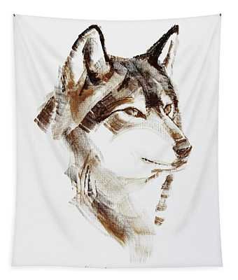 Wolf Head Brush Drawing Tapestry