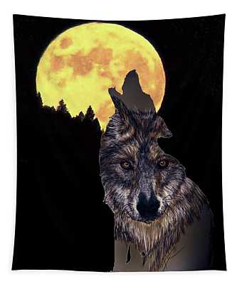 Wolf Howling At The Moon Tapestry
