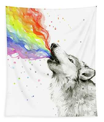 Wolf Rainbow Watercolor Tapestry