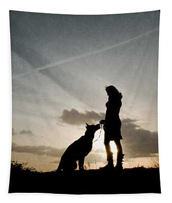 Woman And Dog  Tapestry