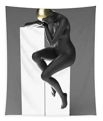 Woman Art Deco Lamp Tapestry