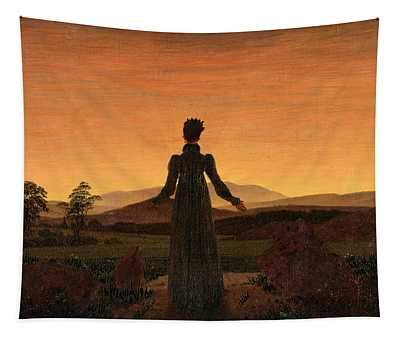 Woman Before The Rising Sun Tapestry