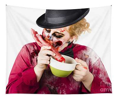 Woman Eating Bloody Hand Tapestry