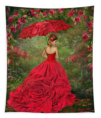 Woman In The Rose Gown Tapestry