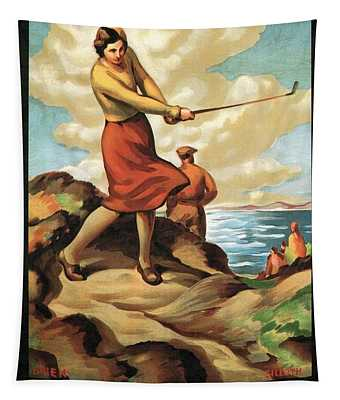 Woman Playing Golf On The Seaside In Silloth, England - Vintage Illustrated Poster Tapestry