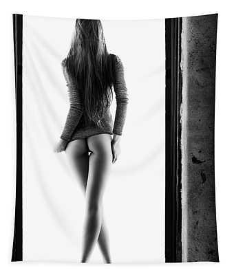 Woman Standing In Doorway Tapestry