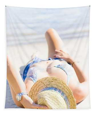 Woman Sunbathing Tapestry