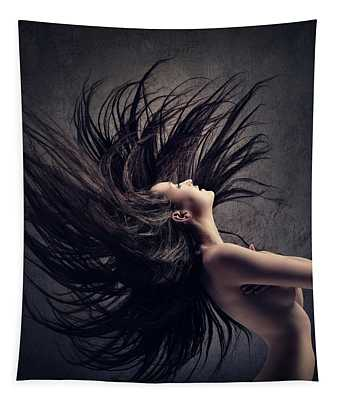 Woman Waving Long Dark Hair Tapestry