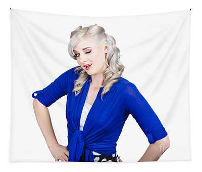 Woman Winking Eye In Lashes. Retro Makeup Style Tapestry