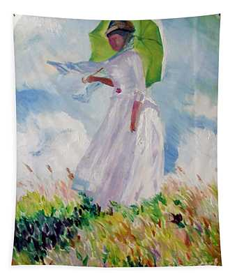 Woman With A Parasol Tapestry