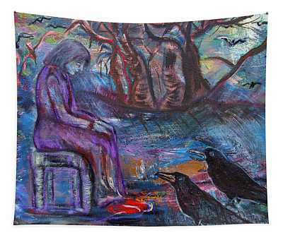 Woman With Crows Tapestry