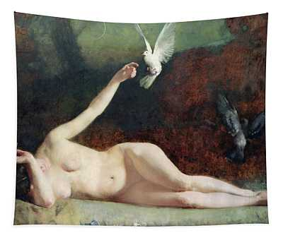Woman With Pigeons Tapestry