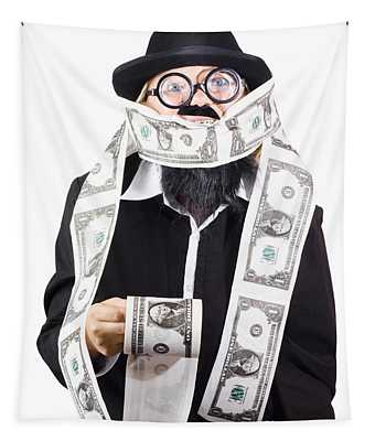 Woman Wrapped In Money Tapestry
