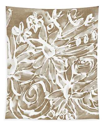 Wood And White Floral- Art By Linda Woods Tapestry