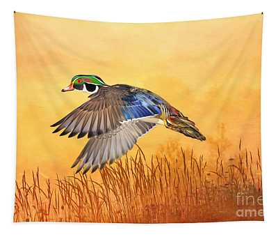 Wood Duck In Flight Tapestry