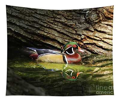 Wood Duck In Wood Tapestry
