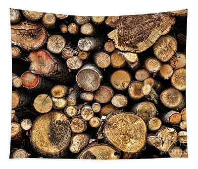 Wood Log Stack Number 144 Tapestry