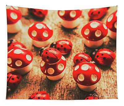 Wooden Bugs And Plastic Toadstools Tapestry
