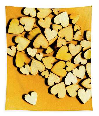 Wooden Hearts With Sentimental Single Tapestry