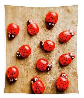 Wooden Ladybugs Tapestry