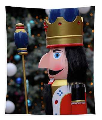 Wooden Nutcracker Prince Statue In Colorful Regalia From Christmas Fairy Tale Story Tapestry