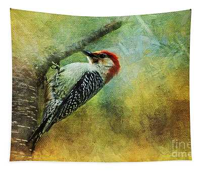 Woodpecker On Cherry Tree Tapestry