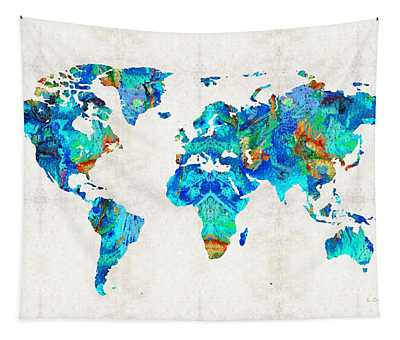 World Map 22 Art By Sharon Cummings Tapestry