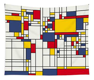 World Map Abstract Mondrian Style Tapestry