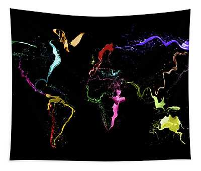 World Map Abstract Paint Tapestry